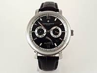 Мужские часы Vacheron Constantin на черном ремешке, механика с автозаводом, цвет корпуса серебро