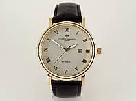 Мужские часы Vacheron Constantin кварцевые, золотистый циферблат