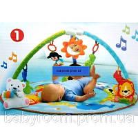 Детский музыкальный развивающий коврик Умный малыш 7182 с дугами