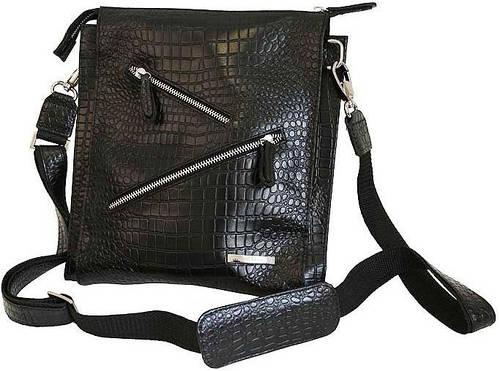 Сумка молодежная кожаная Vip Collection 1445A croc черный