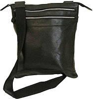 Изящная мужская кожаная сумка с ремнем на плече Vip Collection 296A flat черная