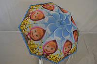Детский зонт-трость рюшей  с изображением Маши на 4-9 лет.
