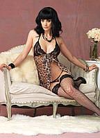 Сексуальная леопардовая ночная сорочка и трусики