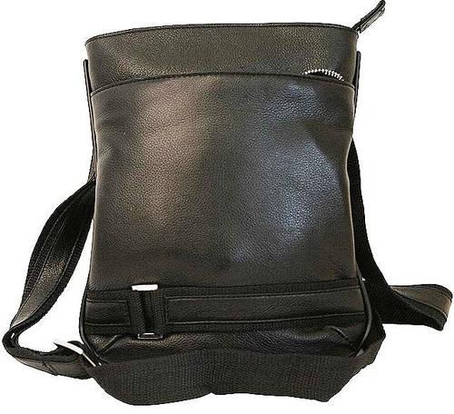 Городская кожаная сумка на плече Vip Collection 1416A flat черная