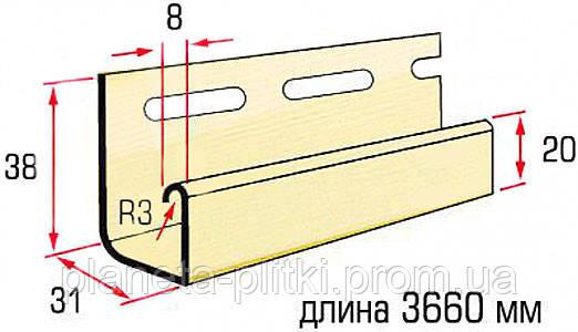 Планка J-trim Alta-Siding. 3.66 м. дуб светлый. Размеры