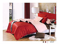 Постельное белье сатин однотонный двухцветный  СУ-07  ARYA Турция красный