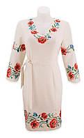 Платье вышиванка с беподобными маками. Прекрасный крой. Костюмная ткань. На выход