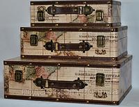 Чемодан Кейс шкатулка Карта Мира. Цена за 3 штуки