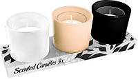 Свечи ароматические в стекле + подсвечники 3 шт