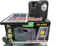 Универсальное зарядное устройство GDLite GD-8008 c фонариком, солнечная батарея, 3 Led лампы
