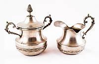 Набор столовый из двух предметов, сахарница и молочник, серебро