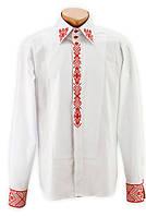 ВИП вышиванка мужская белая с красной вышивкой по вороту , планке и манжетам