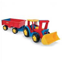 Большой игрушечный трактор Wader Гигант с прицепом и ковшом