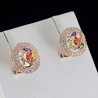 Эксклюзивные серьги с кристаллами Swarovski, покрытые слоями золота 0793