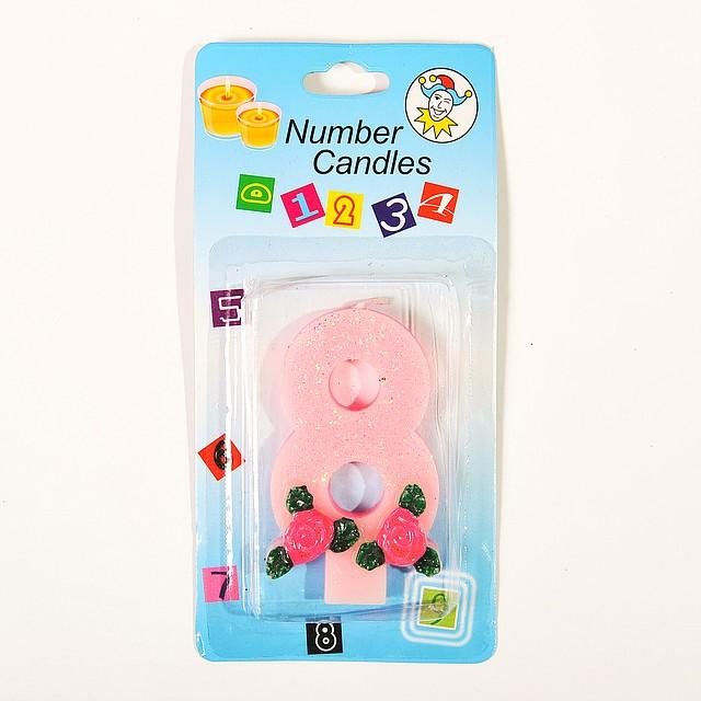 """Свеча цифра для торта  """"8"""" с розочкой блестящая"""