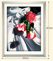 """Алмазная вышивка """"Красные розы на белом атласе"""""""