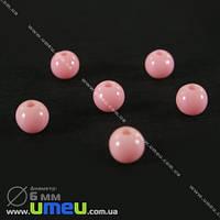 Бусина пластиковая Круглая, 6 мм, Розовая, 1 уп (20 шт) (BUS-000680)