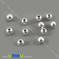 Бусина пластиковая Круглая, 6 мм, Серебристая, 1 уп (20 шт) (BUS-000826)