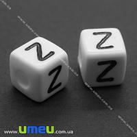 """Бусина пластиковая Куб буква """"Z"""", 10х10 мм, Белая, 1 шт. (BUS-004378)"""