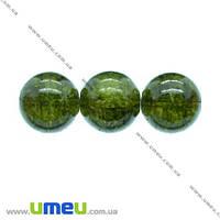 Бусина стеклянная Битое стекло, 12 мм, Оливковая, Круглая, 1 шт. (BUS-002722)