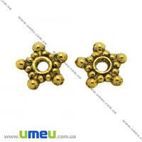 Бусина-разделитель мет., 9 мм,  Античное золото, 1 шт (BUS-007640)
