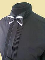 Рубашка под галстук бабочку на запонки черного цвета