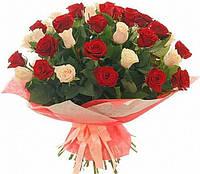 Роза красная+кремовая 50см  в букете 39шт