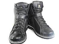 Ботинки женские на меху черные на шнуровке (835)