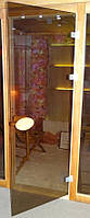 Двери для бани стеклянные с деревянной ручкой 200х80