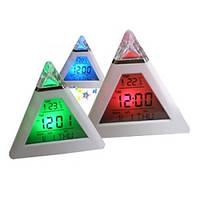 Светильник ночник LED Часы Будильник Пирамида