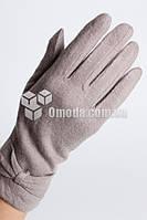 Кашемировые женские перчатки (серый, бант)