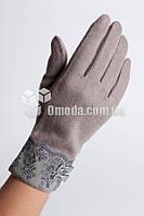 Кашемировые женские перчатки (серый, кружево+бантики)