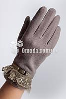 Кашемировые женские перчатки (серый, кружево+ремешок+мех)