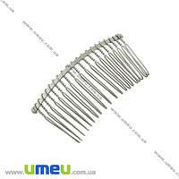 Гребешок металлический, 77х38 мм, Темное серебро, 1 шт. (OSN-010127)