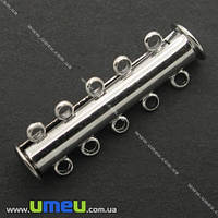 Магнитный замок-слайдер на 5 нитей, Темное серебро, 30х10 мм, 1 шт (ZAM-006403)