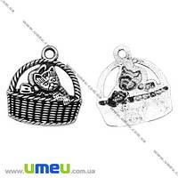 Подвеска металлическая Кот в корзине, Античное серебро, 17х16 мм, 1 шт. (POD-001282)