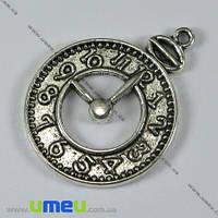 Подвеска металлическая Часы, Античное серебро, 32х24 мм, 1 шт. (POD-003344)