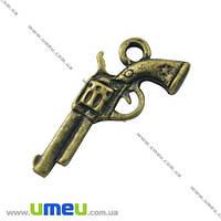 Подвеска металлическая Пистолет, Античное бронза, 22х11 мм, 1 шт. (POD-002523)
