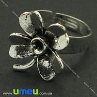 Кольцо с цветком 18 мм, Античное серебро, 1 шт (OSN-004055)