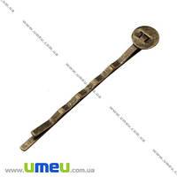 Основа мет. для заколки невидимка, 52 мм, Античная бронза, 1 шт. (OSN-002551)