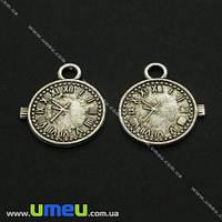 Подвеска металлическая Часы, Античное серебро, 20х16 мм, 1 шт. (POD-003576)