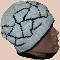 Мужская вязаная шапка на подкладке с бортиком в этническом стиле