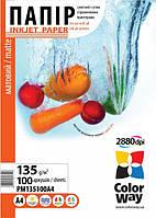Фотобумага ColorWay матовая 135г,м, A4, 100л