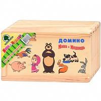"""Домино """"Маша и медведь"""" Изготовлено из дерева"""