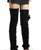 Высокие женские гетры, черные, вязанные, шерсть