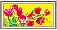 """Алмазная вышивка """"Тюльпаны на желтом фоне"""""""