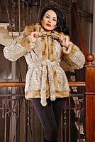 Шуба женская с капюшоном Линда леопард, искусственные шубы