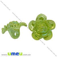 Пуговица пластиковая на ножке Цветок Анемона, 17х11 мм, Зеленая АВ, 1 шт. (PUG-008926)