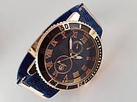 Мужские часы - Ulysse Nardin - LeLocle на синем каучуковом ремешке с вращающимся безелем, цвет золото
