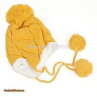 Теплая зимняя детская шапка  с меховой подкладкой